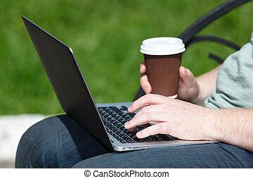 parc, ordinateur portable, jour ensoleillé, homme