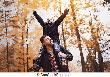parc, père, fils, automne, amusement, avoir