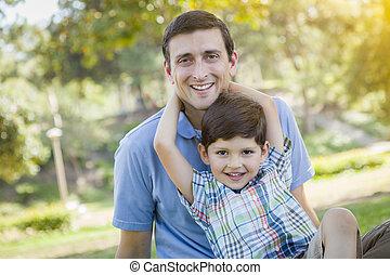 parc, père, fils, course, mélangé, portrait, beau