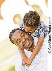 parc, père, fils, ferroutage, course, mélangé, jouer