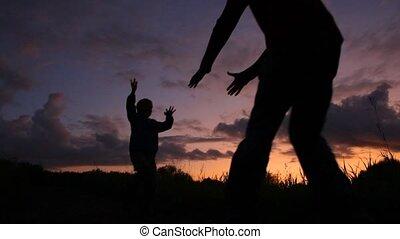 parc, père, fils, tourner, coucher soleil, fond