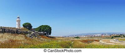 parc, panorama, archéologique, paphos
