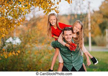 parc, papa, jour, gosses, beau, famille, automne