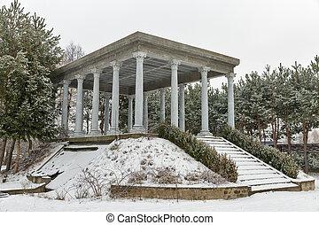 parc, pavillon, hiver, colonnes