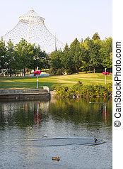 parc, pavillon, riverfront