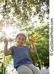 parc, petite fille, balançoire, heureux