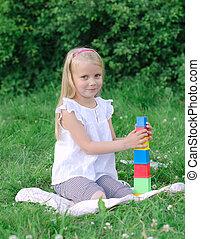 parc, peu, blocs, jouer, girl