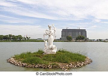 parc, peu, porcelaine, sirène, statue
