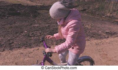 parc, peu, vélo, girl, sentier