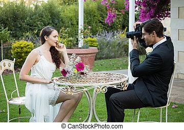 parc, photographier, quoique, mariée, marié, table, séance