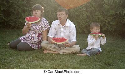 parc, pique-nique, manger, famille