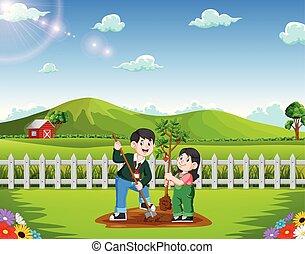 parc, planter, fille, arbre, père