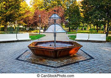 parc, pologne, fontaine, vert, sopot