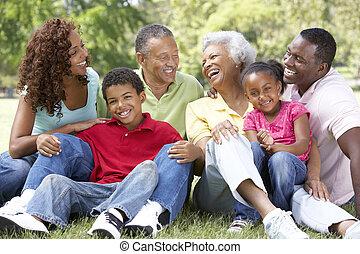 parc, prolongé, groupe, portrait famille