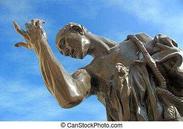 parc, public, statue
