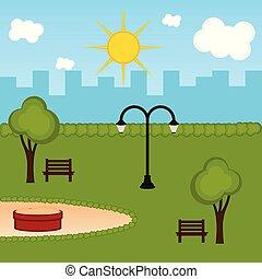 parc, public, vue