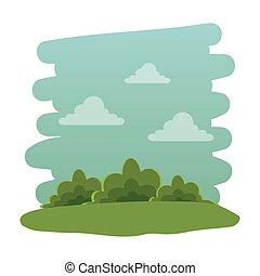 parc, récréatif, naturel, scène, icône