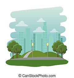 parc, récréatif, naturel, scène, route