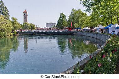 parc, rivière, spokane, riverfront, wi