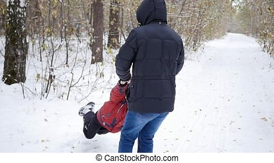 parc, rotation, père, hiver, enfant