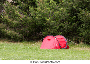 parc, rouges, camper tente