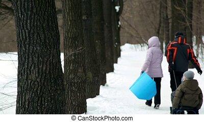 parc, ruelle, promenade, leur, parents, traîneau, enfants