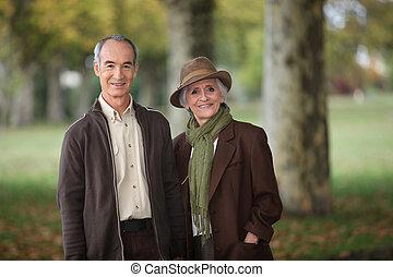 parc, saison, couple, vieux, automne
