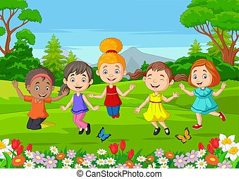 parc, sauter, heureux, enfants