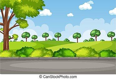 parc, scène, fond, route