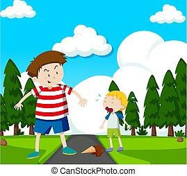 parc, scène, illustration, enfants