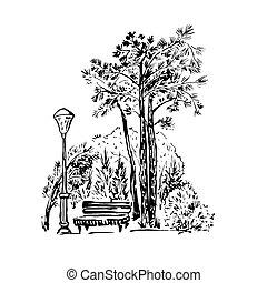 parc, scène, illustration, main, vecteur, dessiné