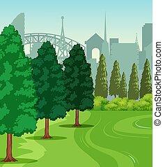 parc, scène, nature