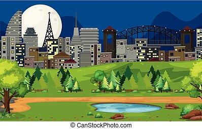 parc, scène, nuit