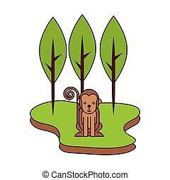 parc, singe, dessin animé