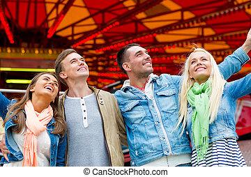 parc, sourire, amis, groupe, amusement