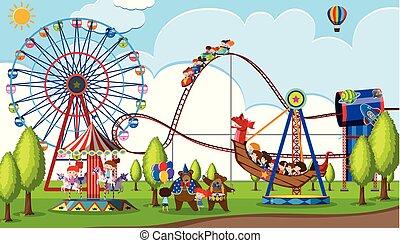 parc thème, enfants