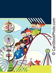 parc thème, enfants, gabarit
