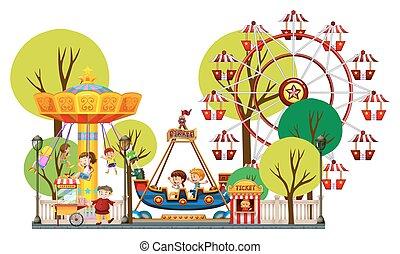 parc thème, jouer, enfants