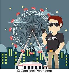 parc, thème, patrouiller, sécurité