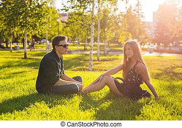 parc, type, jour ensoleillé, girl