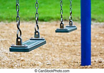parc, vacío, columpio
