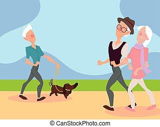 parc, vieux, couple, homme, chien, promenades, marche