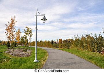 parc ville, dans, les, automne