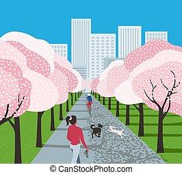 parc ville, dessin animé, activité loisir
