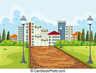 parc ville, fond, vue