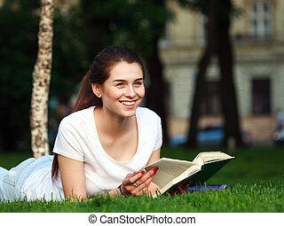 parc ville, livre, étudiant, girl, heureux