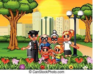 parc ville, membres, famille, heureux