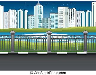 parc ville, paysage, à, rivière, et, urbain, fond