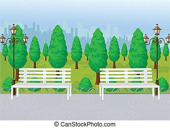 parc, vue, vecteur