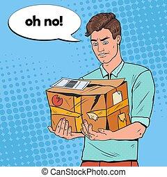 parcel., 损坏, 艺术, service., package., 非职业性, 描述, 发送, 流行音乐, 矢量, 不愉快, 握住, 家伙, 开裂, 人